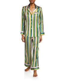 Olivia Von Halle Lila 1977 Striped Classic PJ Set at Neiman Marcus