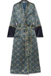 Olivia von Halle - Bettina printed silk-satin robe at Net A Porter