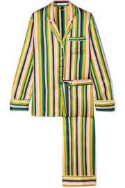 Olivia von Halle - Lila striped silk-satin pajama set at Net A Porter