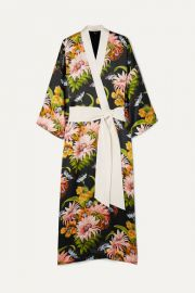 Olivia von Halle - Queenie floral-print silk-satin robe at Net A Porter