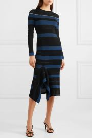 Olivier perforated striped stretch-knit dress at Net A Porter