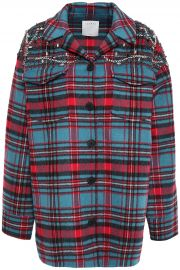 Omar crystal-embellished checked wool-blend fleece jacket at The Outnet
