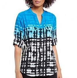 Ombre Print Long Roll Sleeve Blouse by Calvin Klein at Bloomingdales