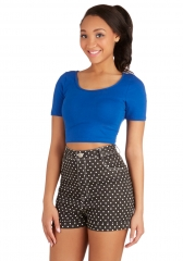 On Crop of the World Top in Cobalt at ModCloth