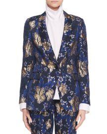 One-Button Metallic Floral-Jacquard Blazer Jacket at Bergdorf Goodman