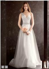 One Shoulder Draped Corset Garza Gown by Vera Wang at David's Bridal