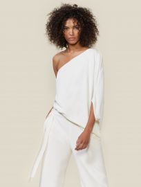 One-Shoulder Draped Stretch Crepe Jumpsuit by Halston Heritage at Halston Heritage