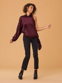 One Shoulder Knotted Blouse in Cabernet  at DvF