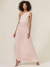 One Shoulder Ruched Waist Gown With Applique at Halston
