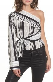 One-Shoulder Tie Waist Shirt at Nordstrom