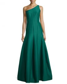 One-Shoulder Tulip-Skirt Gown in Green at Neiman Marcus