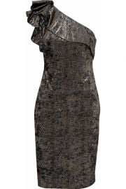 One-shoulder metallic crushed velvet dress bADGLEY MISCHKA at The Outnet