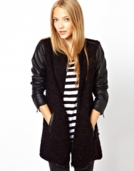 Only Collarless Tweed Coat With Leather Look Sleeve at Asos