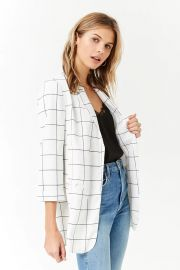 Open-Front Grid Blazer by Forever 21 at Forever 21