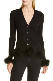 Opening Ceremony Rib Wool Cardigan with Feather Trim   Nordstrom at Nordstrom