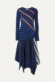 Opening Ceremony - Asymmetric striped cotton-blend midi dress at Net A Porter