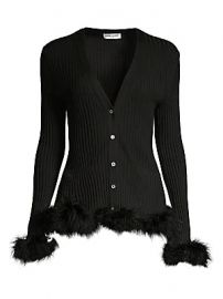 Opening Ceremony - Wool Rib-Knit Faux Fur-Trim Cardigan at Saks Fifth Avenue