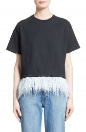 Opening Ceremony Feather Trim Crop Tee at Nordstrom