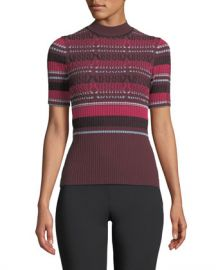 Opening Ceremony Fitted Ribbed Short-Sleeve Striped Top at Neiman Marcus