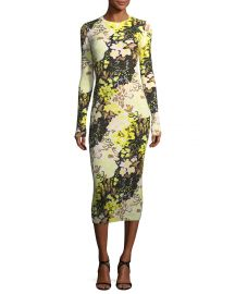 Opening Ceremony Floral-Print Long-Sleeve Rib-Knit Midi Dress at Neiman Marcus