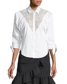 Opening Ceremony Lace-Yoke Sateen Button-Down Shirt at Neiman Marcus