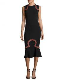 Opening Ceremony Lotus Embroidered Sleeveless Midi Dress at Neiman Marcus