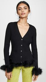 Opening Ceremony Ribbed Cardigan with Feather Trim at Shopbop
