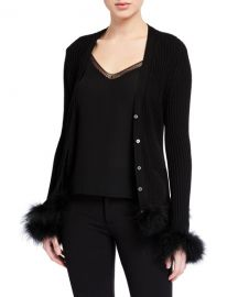 Opening Ceremony Ribbed Wool Cardigan w  Feather Trim at Neiman Marcus