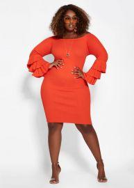 Orange Bell Sleeve Dress by Ashley Stewart at Ashley Stewart
