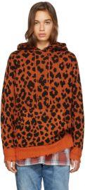 Orange Leopard Cashmere Hoodie at SSENSE