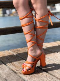 Orange Over the Knee Lace up Platform Block Heels at Hidden