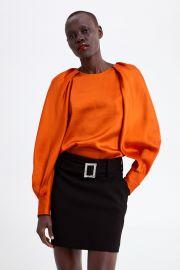 Orange Satin Blouse by Zara at Zara