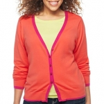 Orange and pink trim cardigan at JCPenney at JC Penney