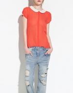 Orange peter pan blouse from Zara at Zara