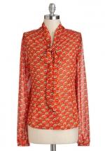 Orange print shirt from Modcloth at Modcloth