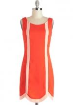 Orange shift dress at Modcloth
