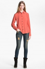 Orange shirt with black buttons by Rag and Bone at Nordstrom