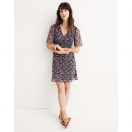 Orchard Flutter Sleeve Dress in Fan Floral Mix at Madewell