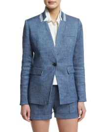 Orchid Chambray Upcollar Jacket by Veronica Beard at Neiman Marcus