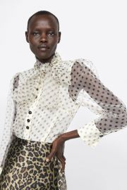 Organza Blouse with tie by Zara at Zara