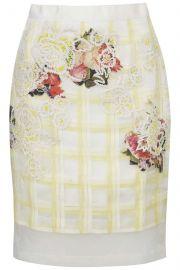 Organza Check Floral Skirt at Topshop