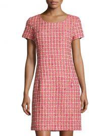 OscaOscar de la Renta Tweed Cap-Sleeve Sheath Dress in Ruby at Last Call
