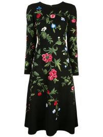 Oscar De La Renta Botanical Garden Embroidered Dress - Farfetch at Farfetch