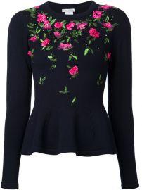 Oscar De La Renta Floral Embroidered Peplum Sweater at Farfetch