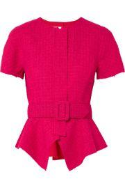 Oscar de la Renta - Belted wool-blend tweed peplum jacket at Net A Porter