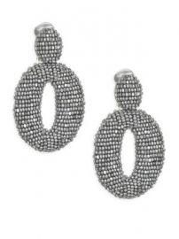 Oscar de la Renta - Classic Oscar Beaded O Clip-On Earrings at Saks Fifth Avenue