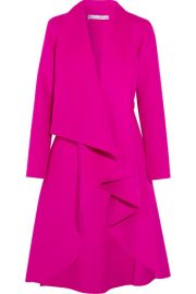 Oscar de la Renta - Draped brushed wool and cashmere-blend coat at Net A Porter