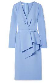 Oscar de la Renta - Draped stretch wool-blend dress at Net A Porter