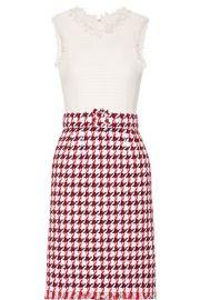 Oscar de la Renta   Fringed houndstooth cotton-blend tweed dress at Net A Porter