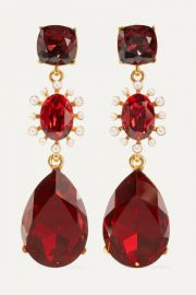 Oscar de la Renta - Gold-tone  crystal and faux pearl clip earrings at Net A Porter